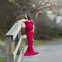 Jessica Gown / Maternity Gown / Stretch Knit sweetheart neckline Maternity dress / Maxi Dress