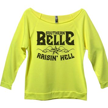 Southern Belle Raisin' Hell Womens 3/4 Long Sleeve Vintage Raw Edge Shirt