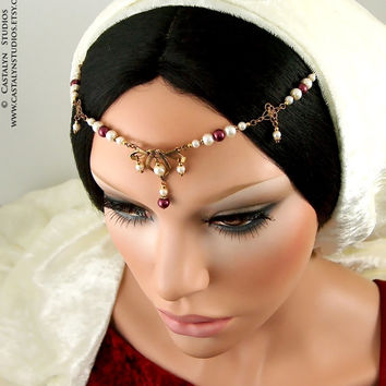 Odessa Set - Golden Celtic Bridal Ivory Maroon Glass Pearl Renaissance Headpiece with Earrings