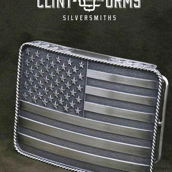 Clint Orms Jewelry~ Men's Sterling Silver American Flag Belt Buckle