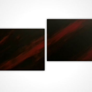 Original art - Original oil painting - Red black painting - Modern canvas painting - Abstract painting - multi panel artwork - Gift