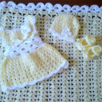 Yellow baby dress , crochet hat ,  baby booties and matching blanket