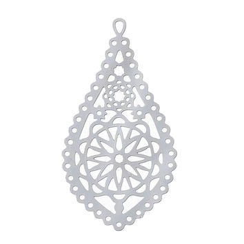 "DoreenBeads Filigree Stainless Steel Charm Pendants Teardrop Silver Tone Flower Hollow Carved 30mm(1 1/8"") x 16mm( 5/8""),2 Pcs"