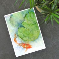 Watercolor koi print, feng shui art, gold fish watercolor abstract painting, zen wall art, lilypad pond print, green lily pad art, good luck