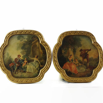 Vintage Chalkware Plaque, Cast Plaster Frame, Rococo, French Romantic, Watteau, Fragonard, Set of Two