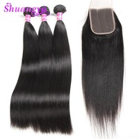 Shuangya Hair Brazilian Straight Human Hair Bundles With Lace Closure 3 Bundles With Closure 4*4 Free Part Non Remy Hair Weaves