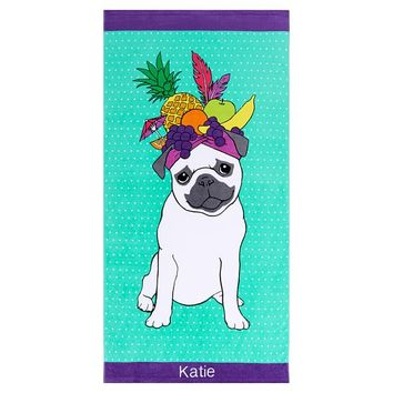 Party Pug Beach Towel
