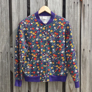 Vtg 1980s Kitschy Women's Floral Baseball Jacket Sweatshirt - USA Made - SZ S/M