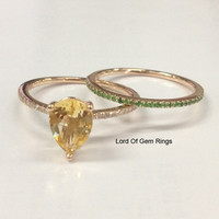 Pear Citrine Diamond Engagement Ring Sets Pave Tsavorite Wedding Band 14K Rose Gold 5x7mm