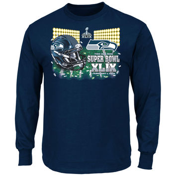 Mens Seattle Seahawks Majestic College Navy Super Bowl XLIX Bound On Our Way VII Long Sleeve T-Shirt