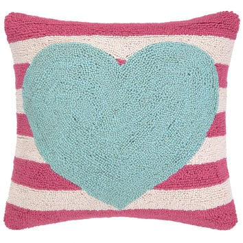 Blue Heart Pink Striped Pillow