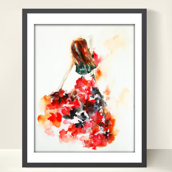Flamenco Dancer Watercolor Painting Art Print, Dance Art, Watercolor Art, Red, Abstract, Modern Painting