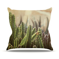 "Jillian Audrey ""Green Grass Cactus"" Green Brown Outdoor Throw Pillow"