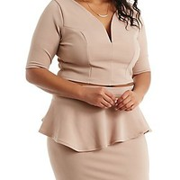PLUS SIZE TEXTURED KNIT PLUNGING CROP TOP