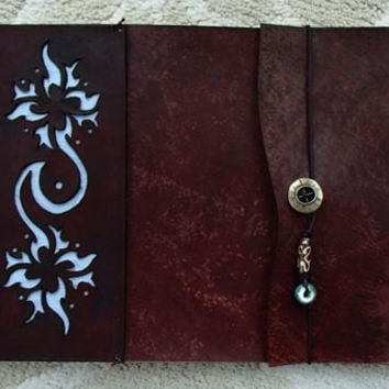 "Refillable Leather ""Hawaiian"" Sketchbook, Mahogany, leather journal, leather bound sketchbook, photo album, refillable, guest book"
