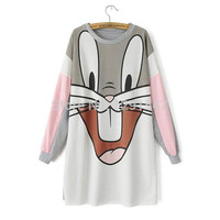 2016 New spring Autumn Women Cartoon Rabbit Bugs Bunny Print Thick Warm Loose sexy Mini Dress,Long Sleeve O-neck Casual vestidos