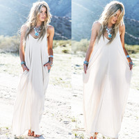 White Sleeveless V-Neck with Side Pocket Casual Maxi Dress