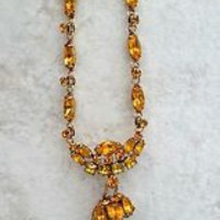 Vintage High End Amber Crystal Rhinestone Tassel Necklace