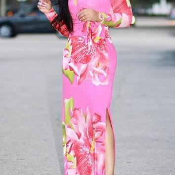 Pink Floral Print Sashes Double Slit Deep V-neck Homecoming Party Maxi Dress