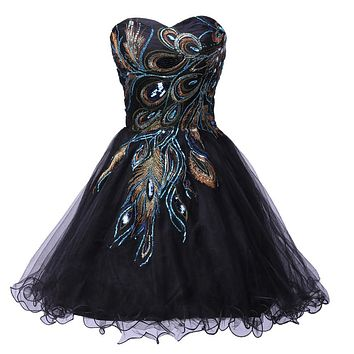Sexy Tulle Ball Gown Embroidery Peacock Cocktail Dress Black White Party Gown Short Cocktail Dresses Prom Dress 2017 C4975