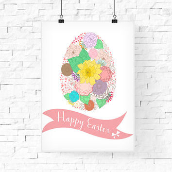 Easter Printable | Happy Easter | Easter Poster | Floral Egg Easter Print | Happy Easter Print | Instant download | 8.5x11 Easter Art Print