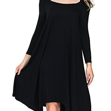 DKBAYA Petite Size Womens Cut Out Long Sleeve Casual Loose High Low Knee Length Midi Dress