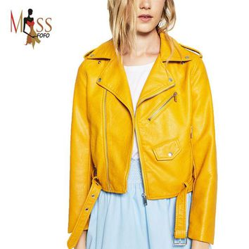 DCCKWQA 2016 New Autumn Fashion Street Women's Short Washed PU Leather Jacket Zipper Bright Colors New Ladies Basic Jackets Good Quality