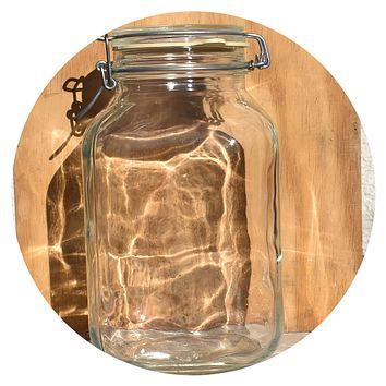 105 Oz Vintage Glass Per Alimenti Jar - Bail Wire Seal Lid - Italy