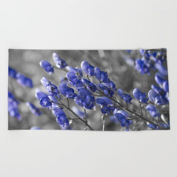 Blue Flower Beach Towel by Cinema4design