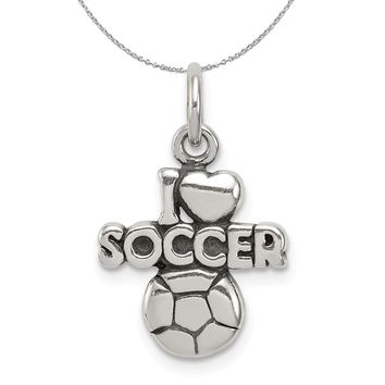 Sterling Silver Antiqued I Heart Soccer Script Charm Necklace