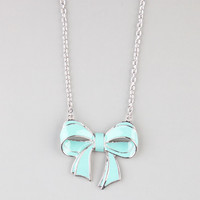 Full Tilt Bow Pendant Necklace Silver One Size For Women 21742614001