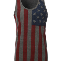 LE3NO Mens Patriotic American Flag All Over Graphic Tank Top