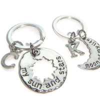 My Sun And Stars Keyrings ~ Couples Keychain Set, Moon Of My Life, His & Hers Jewelry, Best Friends Token, Gift For Boyfriend, Daughter Gift