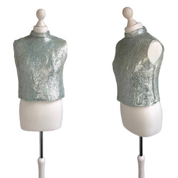 60's Lamé Top - Silver Blue Eyelash Lamé - 1960's Vintage Top - Metallic Sleeveless Crop Top - SciFi GoGo Glam