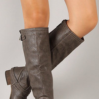 Double Buckle Boots - Taupe