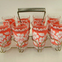 Set of 8 Vintage Hazel Atlas Dogwood Drink Glass with Caddy
