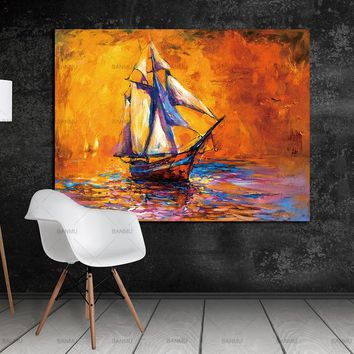 Canvas Painting Wall Art Picture Print on Landscape Sea Sailing Boat Paint On Canvas For Home Decor Wall Art Picture no frame
