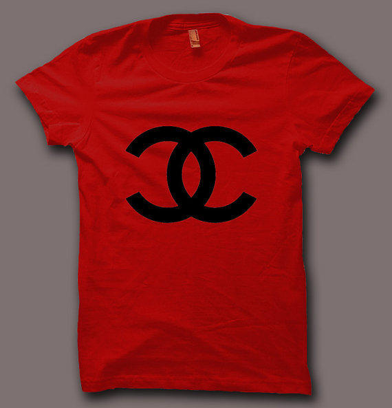 Hot Chanel Paris Celine Logo Men Gray and Red T Shirt Tee CH027