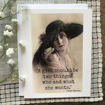 A Girl Should Be Two Things Funny Vintage Style Mothers Day Card Card For Her FREE SHIPPING