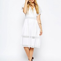 ASOS Wrap Full Midi Dress with Lace Inserts