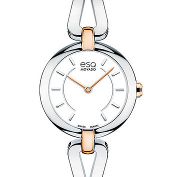 ESQ Movado Corbel Bangle-Style Watch - White Dial - Stainless w/ Rose Gold-Tone