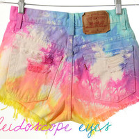 Vintage Levis  High Waist Rainbow TIE DYE Denim Cut Off Shorts S