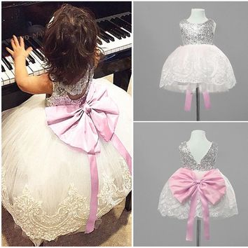 Lace Kids Girl Baby Princess Chiffon Bridesmaid Wedding Pageant Party Gown Dress