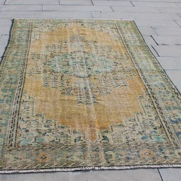 Hand knotted Vintage Wool Orange Oushak Rug, Moroccan Style Large  Pattern Berber Rugs, 5.4 x 8.7 Feet  AG898