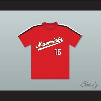 Rob Nelson 16 Portland Mavericks Red Baseball Jersey The Battered Bastards of Baseball