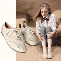 Free shipping British style shoes women white shoes  -n oxfords