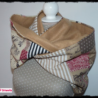 Patchwork Infinity Scarf, Loop Scarf, Infinity Cowl, Tube Scarf