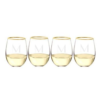 Personalized 19.25 oz. Gold Rim Stemless Wine Glasses (Set of 4)
