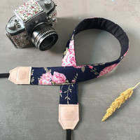 DSLR camera strap, Navy Pink  flower Camera Strap, leather camera Strap Gift for her