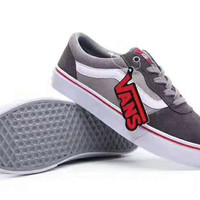 """ Vans"" Splicing Casual Shoes Men And Women Cloth Shoes grey G-PSXY"